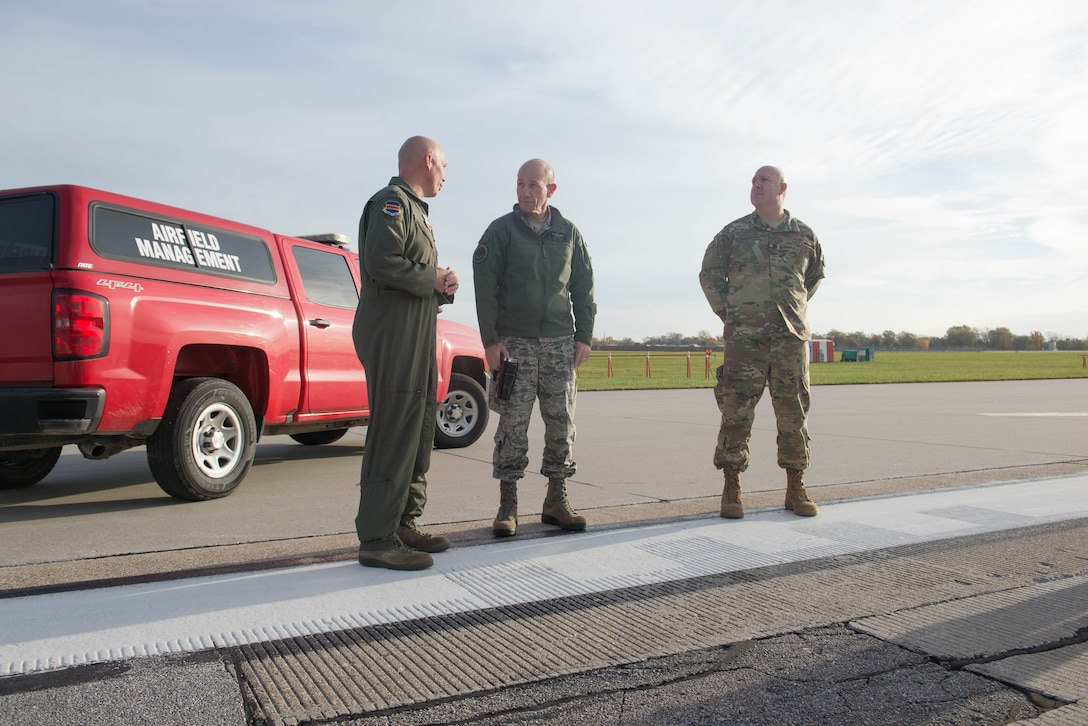 U.S. Air Force Col. Michael Manion, left, 55th Wing commander, and Gen. Mike Holmes, the commander of Air Combat Command, inspect the Offutt Air Force Base flight line Oct. 30, 2018, at Offutt AFB, Nebraska.