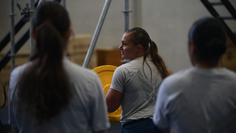 Tech. Sgt. Leanne Hardin, 628th Logistics Readiness Squadron supply supervisor, runs a physical-training session at the 628th Force Support Squadron Fitness Center Oct. 25, 2018, at Joint Base Charleston, S.C. The PT session was part of the Centralized Fitness Improvement Program, which unifies service members with the common goal of improving their fitness. The program emphasizes the importance of exercise and nutrition and how the two complement each other to create a healthy lifestyle.