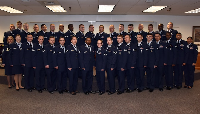 Students and instructors of Airman Leadership School Class 19-A stand for a group photo Oct. 17, 2018 at Malmstrom Air Force Base, Mont. (U.S. Air Force photo by Airman 1st Class Jacob M. Thompson)