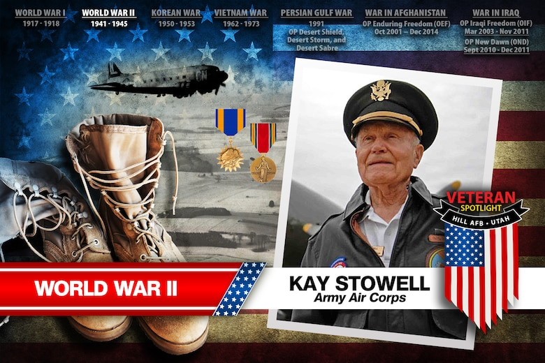 Today's spotlight is U.S. Army Air Corps veteran Kay Stowell. (U.S. Air Force illustration by David Perry)
