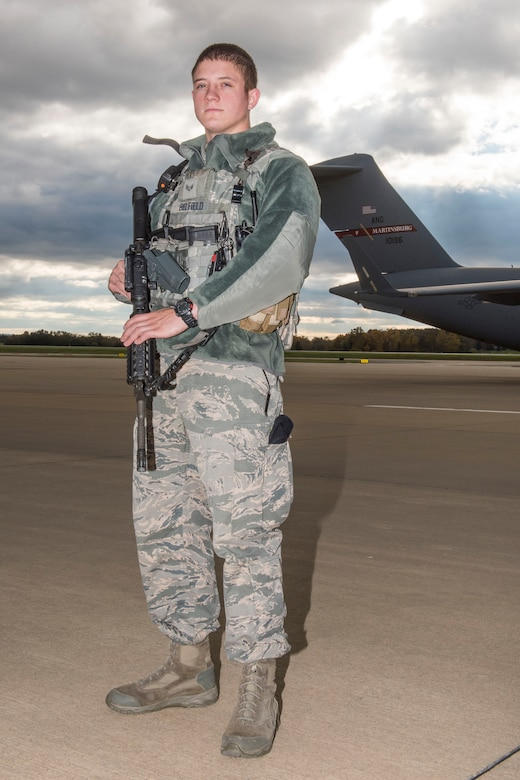Senior Airman Connor Belfield is a security forces specialist for the 167th Security Forces Squadron and the 167th Airlift Wing's Airman Spotlight for Nov. 2018.