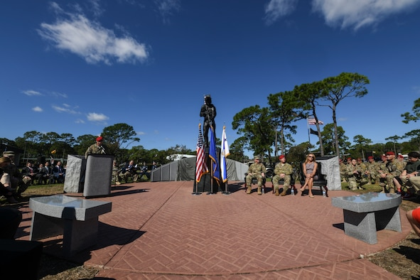 U.S. Air Force Col. Spence Cocanour, vice commander of the 24th Special Operations Wing, speaks during the U.S. Air Force Master Sgt. John A. Chapman Medal of Honor memorial unveiling ceremony on Oct. 27, 2018, at Hurlburt Field, Florida.