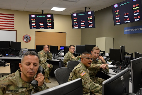 Schriever Air Force Base, Colo. - 100th Missile Defense Brigade Soldiers operate in the Misssile Defense Element at Schriever Air Force Base, Colorado.