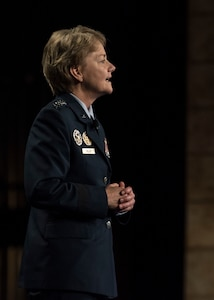 """Gen. Maryanne Miller, Air Mobility Command commander, speaks during the Airlift/Tanker Association Symposium in Grapevine, Texas, Oct. 27, 2018. """"As Airmen, we succeed,"""" said Miller. """"As Airmen, we invest in serving this great nation and each other. As Airmen, we lead from the front, kneel by those in need, share in the work of our teammates, respect their lives and honor their contributions."""" A/TA, AMC's premier professional  development event, provides mobility Airmen an opportunity to learn about and discuss mobility priorities, issues, challenges, and successes. The venue creates dialogue between industry experts and Air Force and Department of Defense about ways to innovate, enhance mission effects and advance readiness headed into the future.  (U.S. Air Force photo by Tech. Sgt. Jodi Martinez)"""
