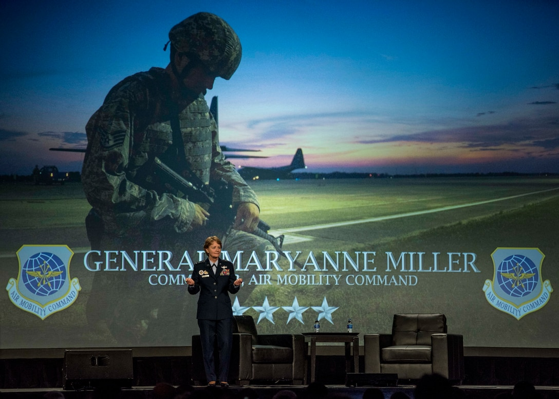 "Gen. Maryanne Miller, Air Mobility Command commander, speaks during the Airlift/Tanker Association Symposium in Grapevine, Texas, Oct. 27, 2018. ""As Airmen, we succeed,"" said Miller. ""As Airmen, we invest in serving this great nation and each other. As Airmen, we lead from the