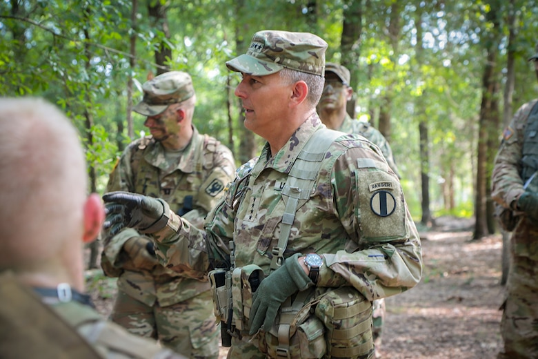 FORT BENNING, Ga. (Aug. 17, 2018) – Gen. Stephen J. Townsend, commanding general of U.S. Army Training and Doctrine Command, toured the Maneuver Center of Excellence and Fort Benning, Georgia, led by the MCoE and Fort Benning commanding general, Maj. Gen. Gary M. Brito, Aug. 15. The group observed squad situational training exercise lanes with E Company, 3rd Battalion (Officer Candidate School), 11th Infantry Regiment, and Townsend provided guidance to the cadets. (U.S. Army photo by Markeith Horace, Maneuver Center of Excellence, Fort Benning Public Affairs)