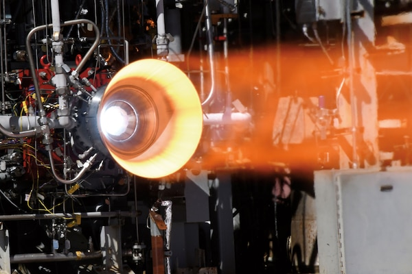 NASA successfully hot-fire tested 3D printed copper combustion chamber liner with E-Beam Free Form Fabrication manufactured nickel-alloy jacket, March 2, 2018 (NASA/Marshall Space Flight Center/David Olive)