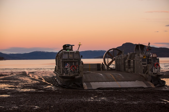 A landing craft air cushion rests on Alvund Beach after supporting an amphibious landing in during Trident Juncture 18 on Alvund Beach, Norway, Oct. 30, 2018.