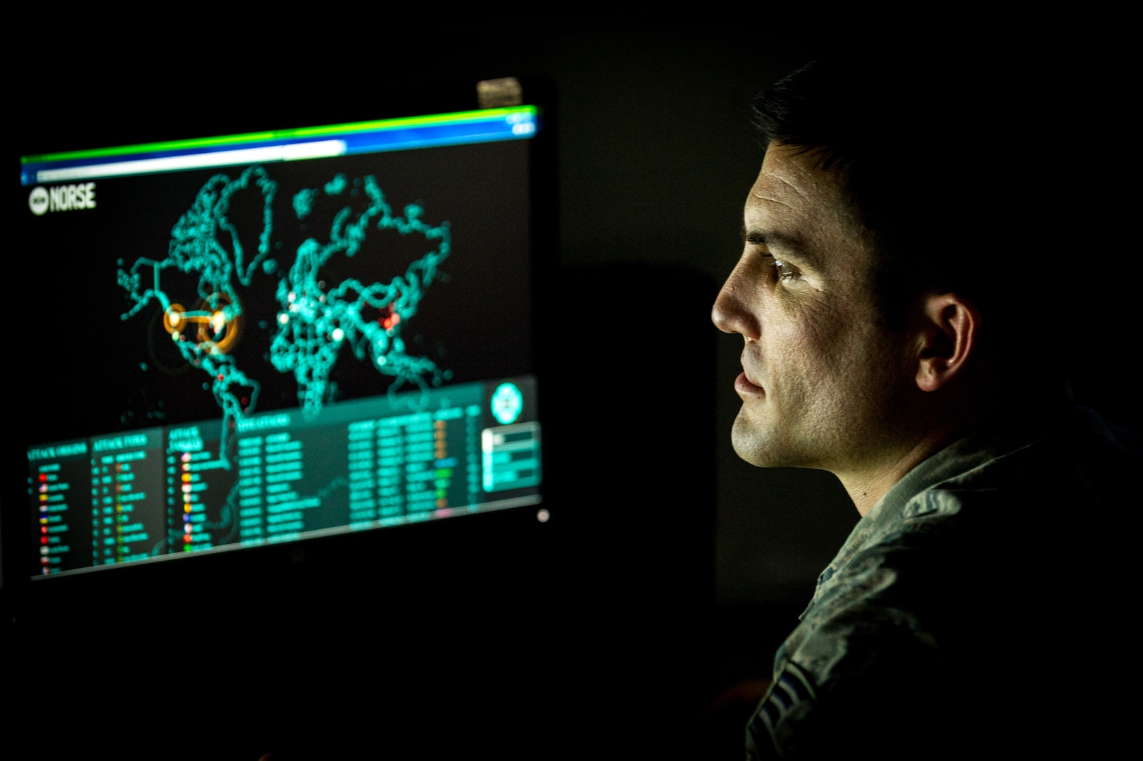 Cyber warfare operations journeyman monitors live cyber attacks on operations floor of 27th Cyberspace Squadron at Warfield Air National Guard Base, Middle River, Maryland, June 3, 2017 (U.S. Air Force/J.M. Eddins, Jr.)