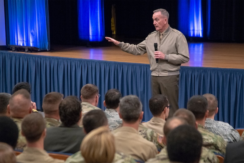 Chairman of the Joint Chiefs of Staff Gen. Joe Dunford hosts a town hall with members of the Joint Staff to discuss global integration and where they fit into this overarching concept in the Pentagon in Washington, D.C., Oct. 30, 2018.
