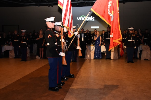 The Marine Corps Color Guard posts the colors during the Marine Corps Ball at the McNease Convention Center, San Angleo, Texas, Nov. 2, 2018. The Marine Corps Detachment at Goodfellow members, family and friends celebrated the 243rd birthday early this year. (U.S. Air Force photo by Airman 1st Class Seraiah Hines/Released)