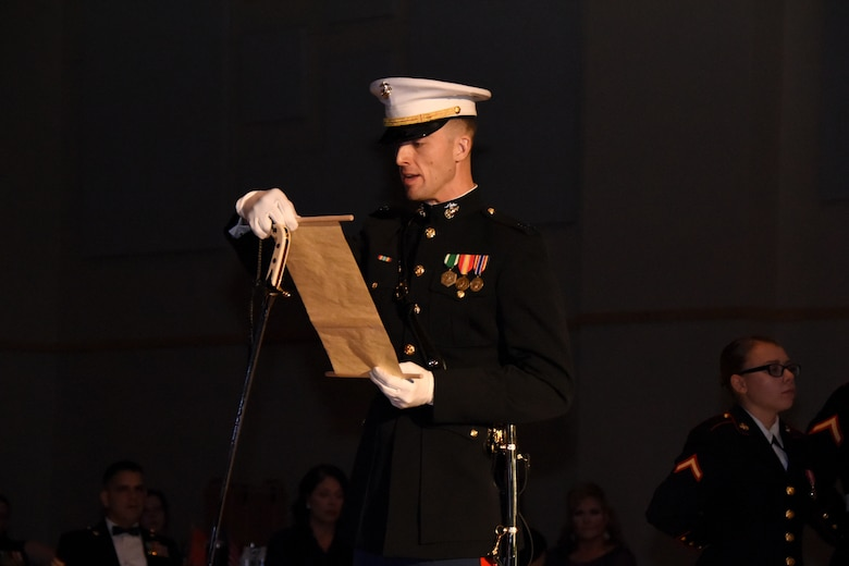 U.S. Marine Corps Capt. Jason Furman, Marine Corps Detachment at Goodfellow executive officer, reads the birthday message of Gen. John J. Lejeune, 13th Commandant of the Marine Corps, during the Marine Corps Ball at the McNease Convention Center, San Angelo, Texas, Nov. 2, 2018. Issued in Marine Corps Order 47, Lejeune was the first Commandant to issue a birthday message to Marines. (U.S. Air Force photo by Airman 1st Class Seraiah Hines/Released)