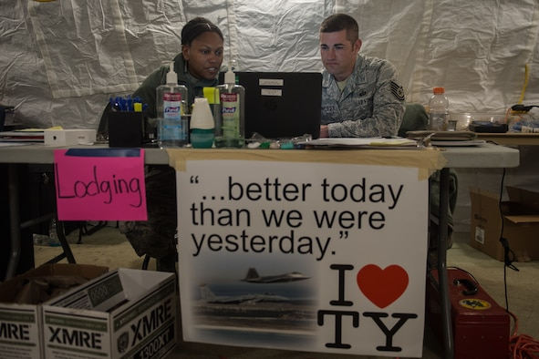 Airmen manage lodging from a temporary facility on Tyndall Air Force Base, Florida.