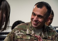 U.S. Air Force Chief Master Sgt. John Alsvig, the 35th Fighter Wing command chief, speaks with a Japan Air Self-Defense Force 37th Surveillance Squadron member during a bilateral exchange program at Yamada Sub Base, Yamada Town, Japan, Oct. 17, 2018. Alsvig fellowshipped and familiarized himself with the 37th SS's leadership, strengthening U.S. and Japan bonds. (U.S. Air Force photo by Senior Airman Sadie Colbert)