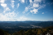 Yamada Town, Japan, sits in a valley of various Japanese mountains, Oct. 18, 2018. The town houses Japan Air Self-Defense Force's Yamada Sub Base. The installation's mission contributes to maintaining balance in the Indo-Pacific region through detecting and notifying ally forces who respond to unknown and enemy aircraft. (U.S. Air Force photo by Senior Airman Sadie Colbert)