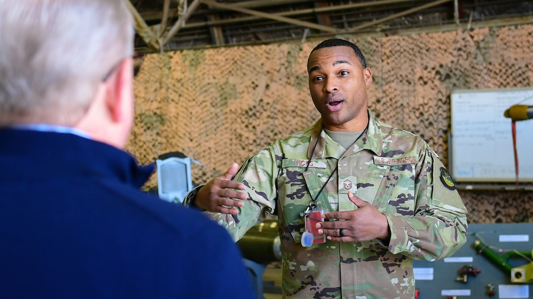 U.S. Air Force Master Sgt. Korvarsie Hicks, 51st Maintenance Squadron aircraft fuels section chief, briefs Dave Giachetti, House Armed Services Committee professional staff member, on the accessories flight and training for new Airmen during a tour of Osan Air Base, Republic of Korea, Oct. 31, 2018.
