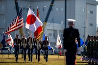 U.S. Marines and Sailors take part in the 243rd Marine Corps birthday uniform pageant at Marine Corps Air Station Iwakuni, Japan, Nov. 5, 2018. The annual ceremony was held in honor of the 243rd Marine Corps birthday. It included a historical uniform pageant to honor Marines of the past, present and future while signifying the passing of traditions from one generation to the next.