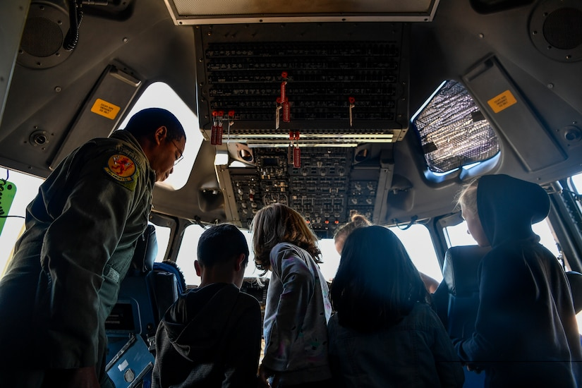 1st Lt. Akil Romany, 16th Airlift Squadron pilot, gives a tour of a cockpit of a C-17 Globemaster III, Nov. 3, 2018, at Joint Base Charleston, S.C.