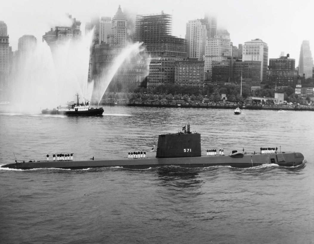 USS Nautilus entering New York harbor August 25, 1958, after voyage under North Pole (U.S. Naval History and Heritage Command)