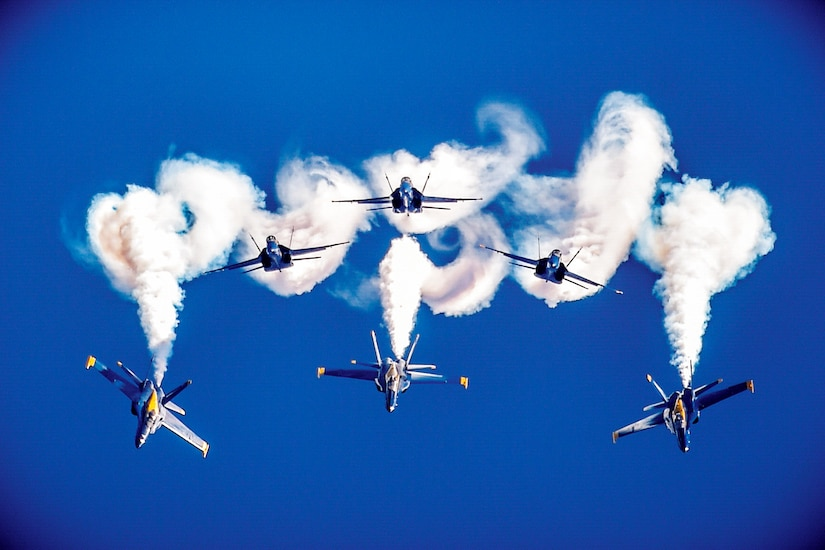 The Blue Angels, the Navy's flight demonstration squadron, perform.