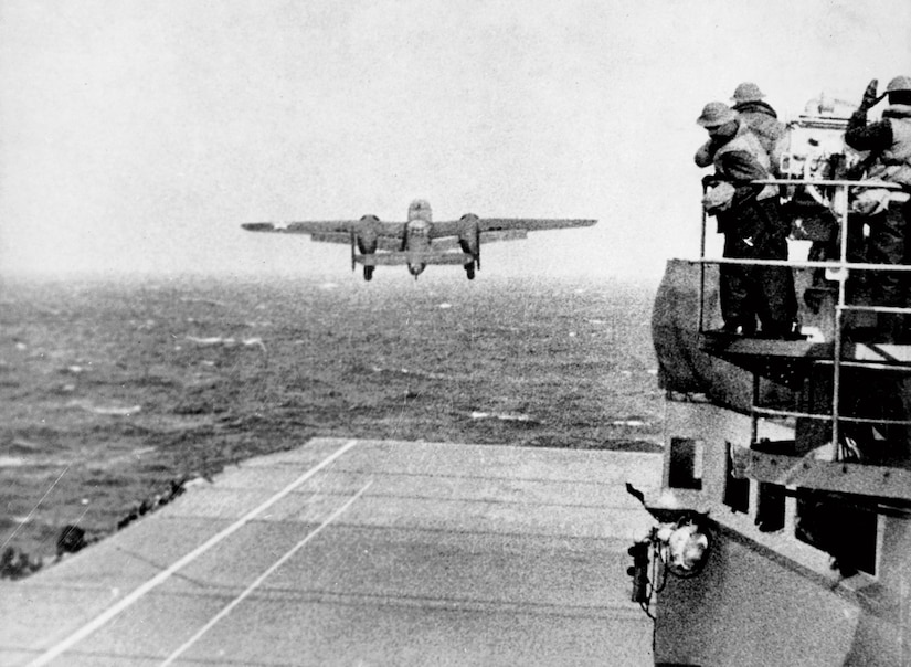 U.S. Army Air Forces North American B-25B Mitchell bomber takes off from USS Hornet as part of first wave of Doolittle Raid, April 18, 1942 (U.S. Navy/
