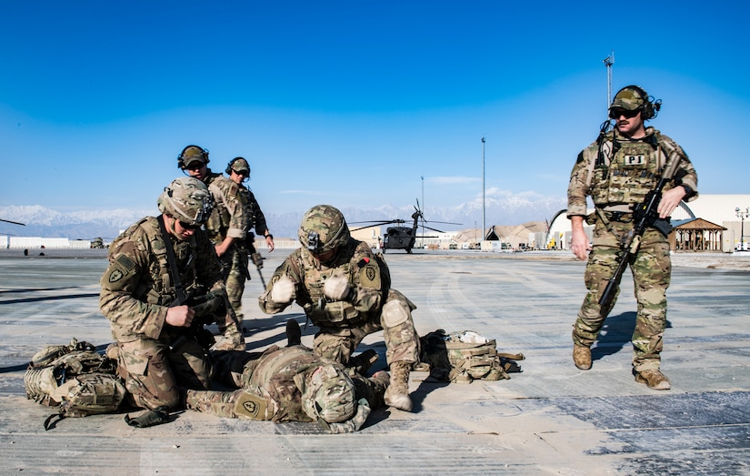 Pararescuemen assigned to 83rd Expeditionary Rescue Squadron observe medical procedures performed by members of U.S. Army Aviation Reaction
