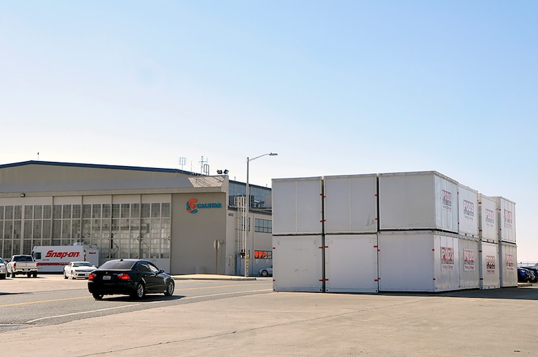 CalStar Air Medical Services and PODS storage facility both utilize hanger space at the former McClellan Air Force Base in Sacramento, Calif., Oct. 18, 2018. (U.S. Air Force photo by Scott Johnston).