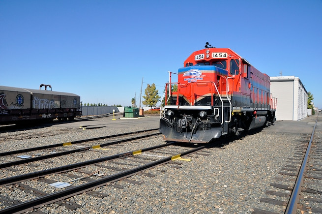 Sacramento Valley Railroad provides all railcar switching and other rail-related services on 7 miles of rail line within what is now McClellan Business Park in Sacramento, Calif., Oct. 18, 2018. (U.S. Air Force photo by Scott Johnston).