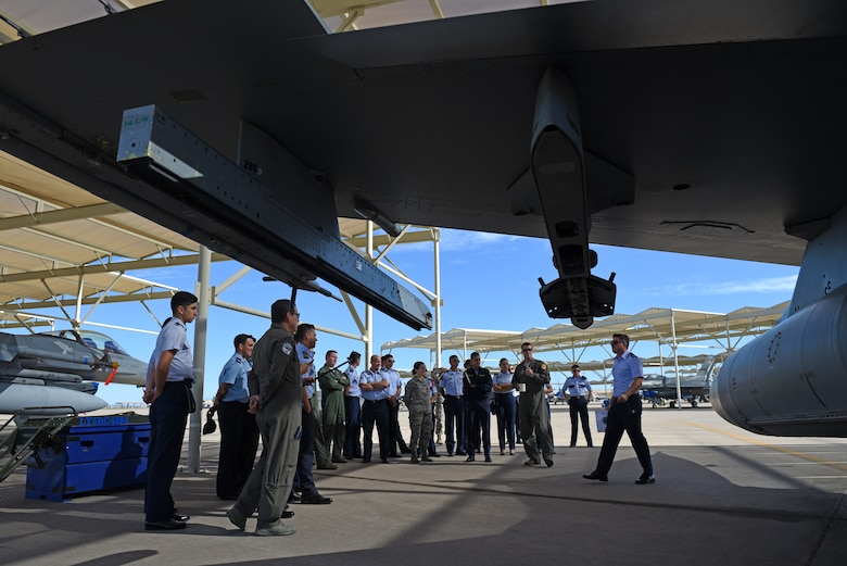 Distinguished cadets from different Latin American Air Force academies visit Luke Air Force Base, Ariz., as a part of the Department of Defense Latin American Cadet Initiative Oct. 31, 2018. The LACI program allows the top two cadets from each of various Latin American air service academies from countries including Mexico, Brazil, and Colombia, to tour U.S. Air Force bases and missions in order to immerse them in U.S. military culture and establish relationships. (U.S. Air Force photo by Senior Airman Ridge Shan)