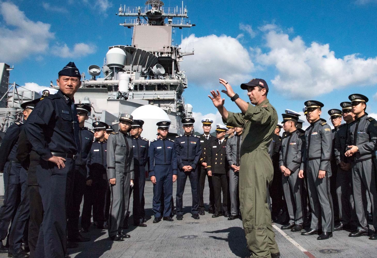 Republic of Korea midshipmen and cadets visit Wasp