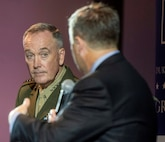 Marine Corps Gen. Joe Dunford (left), chairman of the Joint Chiefs of Staff, speaks with Peter Feaver, a professor of political science and public policy at Duke University, during a discussion with students in Duke's Program in American Grand Strategy in Durham, N.C., Nov. 5.