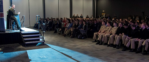 Marine Corps Gen. Joe Dunford, chairman of the Joint Chiefs of Staff, discusses the U.S. military's support to Customs and Border Protection with students in Duke University's Program in American Grand Strategy in Durham, N.C., Nov. 5.
