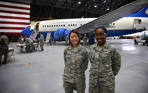 The 932nd Airlift Wing educated Airmen about various careers available within the Illinois unit, and cultures in the background of various members, as they honored their contributions during a Career and Diversity Day.  Here, Airman 1st Class Kathryn Baskerville and Airman 1st Class Kaida Smith, both from 932nd Force Support Squadron, pause in front of the 932nd AW's C-40 plane.  Booths from various career fields showed off job openings and training needed to accomplish those missions like security forces and aircraft operations.  A process booth took suggestions from members on how to improve the unit as well.  The event honored cultural diversity, and exposed 932nd AW Airmen to the qualities that make various cultures unique; it took place November 4, 2018, at Scott Air Force Base, Illinois.  (U.S. Air Force photo by Lt. Col. Stan Paregien)