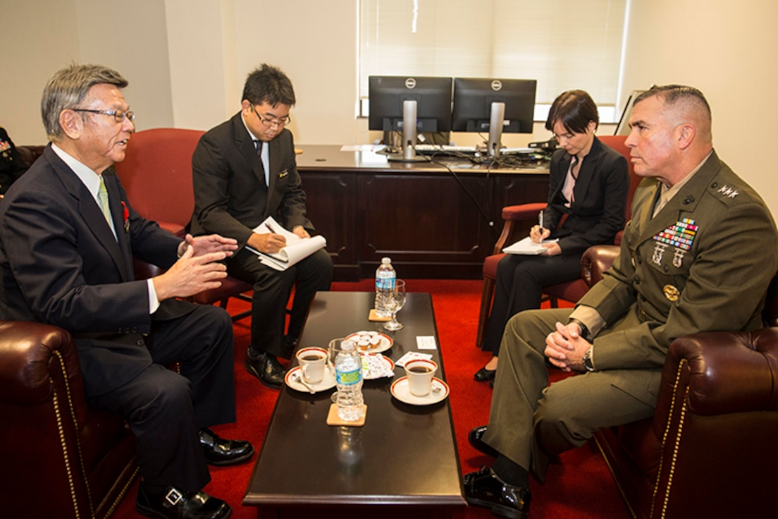 Okinawa governor with USMA Gen