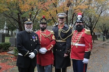 """On Nov. 6, 2018, """"The President's Own"""" U.S. Marine Band observed the 164th birthday of 17th Director John Philip Sousa with a ceremony and wreath-laying at his grave at Congressional Cemetery in Washington, D.C. (U.S. Marine Corps photo by Master Sgt. Kristin duBois/released)"""
