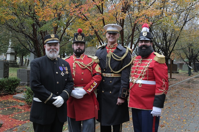 "On Nov. 6, 2018, ""The President's Own"" U.S. Marine Band observed the 164th birthday of 17th Director John Philip Sousa with a ceremony and wreath-laying at his grave at Congressional Cemetery in Washington, D.C. (U.S. Marine Corps photo by Master Sgt. Kristin duBois/released)"