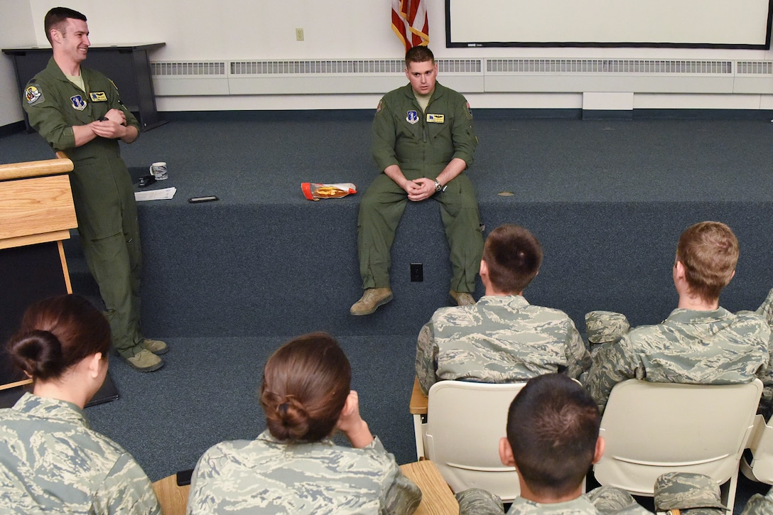 Capt. John Goeres and Master Sgt. Chris Willey give a mission briefing and passenger safety briefing to cadets during a Junior Reserve Officer Training Corps visit to the 168th Wing in May 2017.
