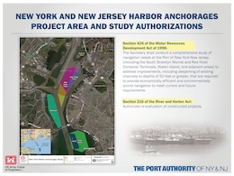 A graphic explaining the  the NY & NJ Harbor Anchorages Study authorizations.