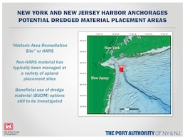 Graphic explaininng where the potential dredged material placement areas are for the New York and New Jersey Harbor Anchorages Study.