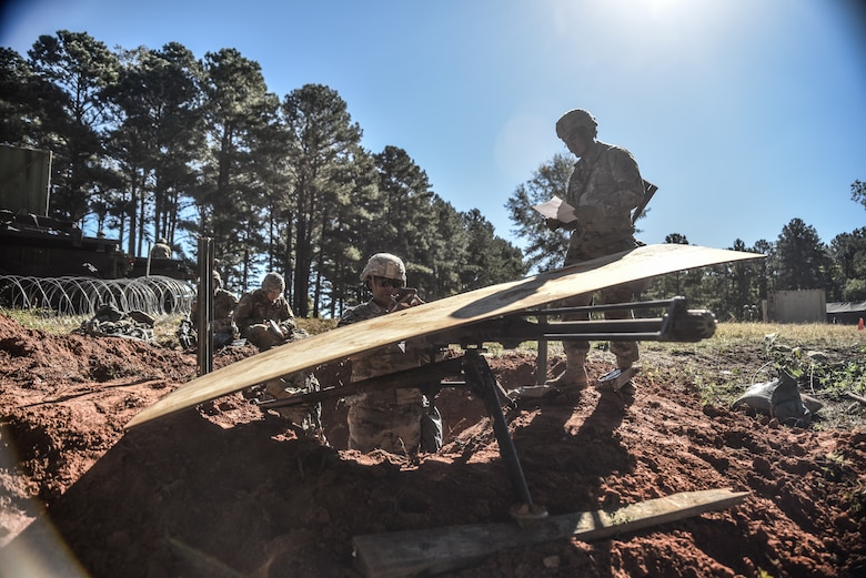 U.S. Army Soldiers assigned to the 119th Inland Cargo Transfer Company, 11th Trans. Battalion, 7th Trans. Brigade (Expeditionary), build a Machine Gun Nest at Fort Pickett, Virginia. Oct, 23, 2018.