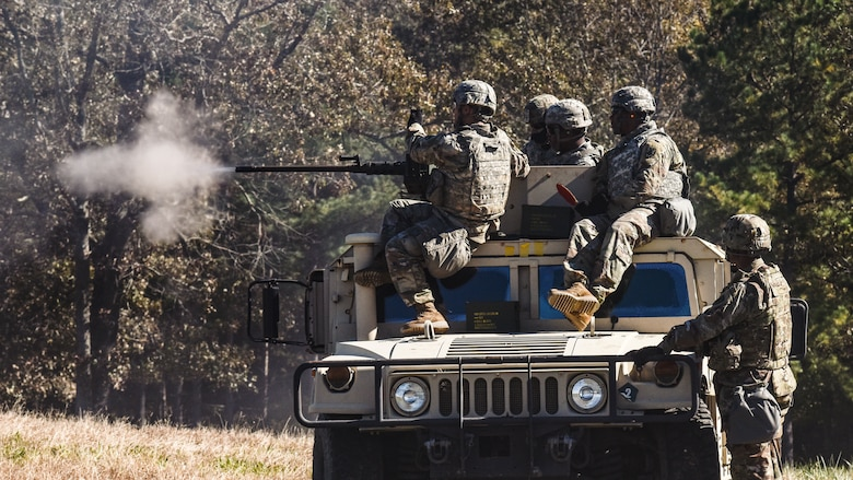 U.S. Army Soldiers assigned to 11th Transportation Battalion, 7th Trans. Brigade (Expeditionary), fire a mounted .50-caliber machine gun during a Combat Live Fire exercise at Fort Pickett, Virginia, Oct. 29, 2018.