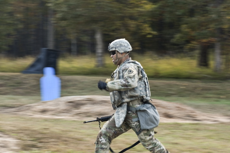 U.S. Army Sgt. Erick Ramos, 7th Transportation Brigade (Expeditionary) Headquarters and Headquarters Command driver, competes in a timed Combat Readiness Drill at Fort Pickett, Virginia, Oct. 29, 2018.