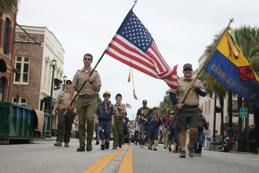 A Boy Scout troop marches through the 2018 Charleston Veterans Day Parade Nov. 4, 2018, in Charleston, S.C. This year's Veterans Day, officially recognized Nov. 11, 2018, will mark the 100th anniversary of the end of the First World War.