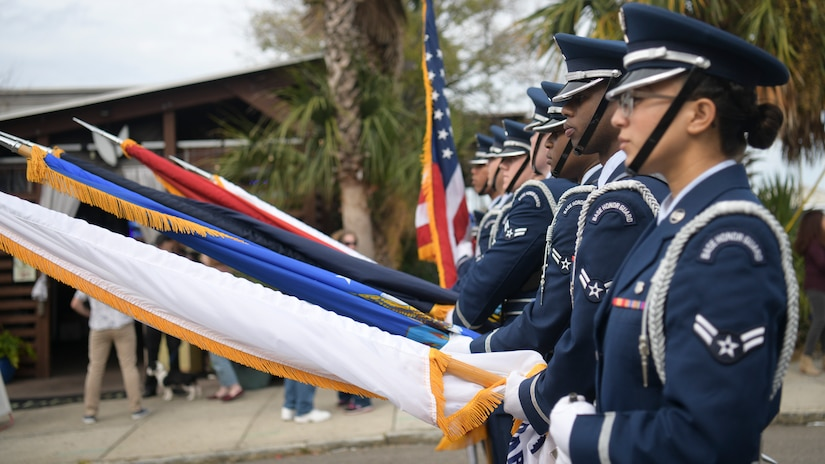 Members of the Joint Base Charleston Honor Guard march through the 2018 Charleston Veterans Day Parade. This year's Veterans Day, officially recognized Nov. 11, 2018, will mark the 100th anniversary of the end of the First World War.