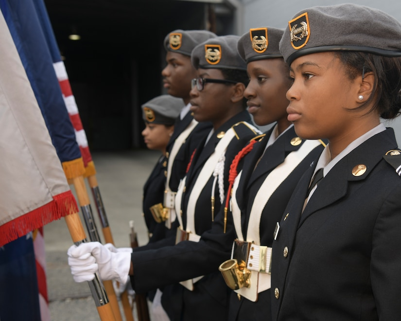 Members of the Burke High school JROTC stand in formation before the start of the 2018 Veterans Day Parade Nov. 4, 2018, in Charleston, S.C. This year's Veterans Day, officially recognized Nov. 11, 2018, will mark the 100th anniversary of the end of the First World War.