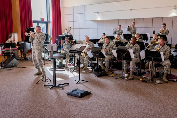 Chief Master Sgt. Kevin Burns leads the Airmen of Note in preparation for their 2018 Fall Tour