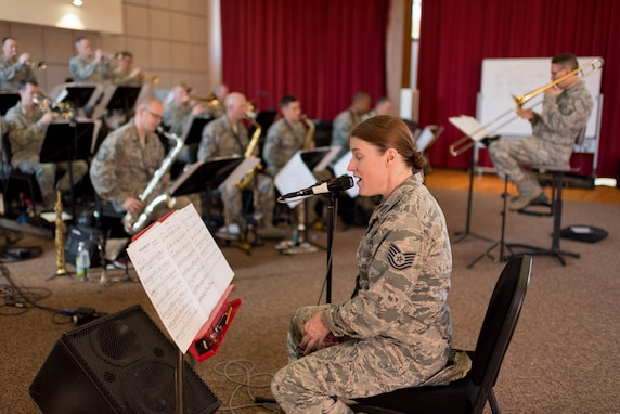Technical Sgt. Paige Wroble sings with the Airmen of Note during preparations for their 2018 Fall Tour
