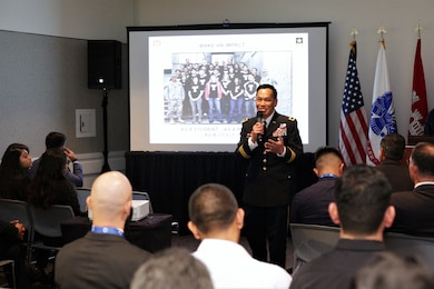 """Maj. Gen. Mark Toy, commander of the Great Lakes and Ohio River Division, talks to college students and recent graduates attending the USACE seminar at the Hispanic Engineer Achievement Awards Corporation conference Oct. 19 in Pasadena, California. With the theme, """"Travel the world ... make an impact ... build big things,"""" panel members presented information on the Corps, its missions and the opportunities a Corps career provides employees."""