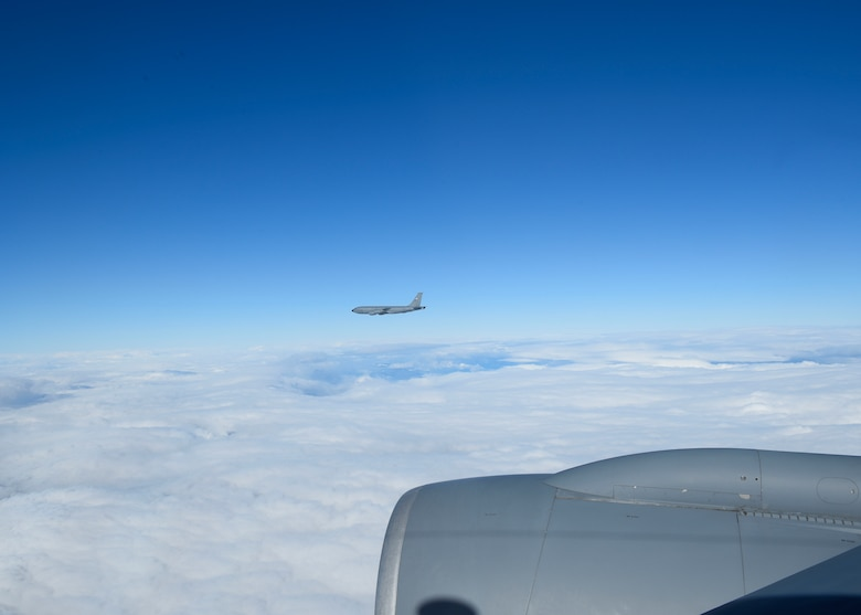 A KC-135 Statotanker flies to perform refueling connections with a B-52 Stratofortress during Exercise Global Thunder 2019 over the U.S. Northwestern Region, November 2018. Global Thunder is a U.S. Strategic Command exercise designed to ensure an efficient mission response by testing Airmen's ability to execute command, control and operational procedures during simulated combat scenarios. (U.S. Air Force photo/Airman 1st Class Lawrence Sena)