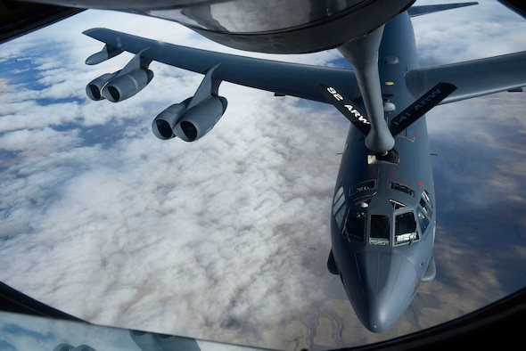 A KC-135 Stratotanker performs a refueling connection with a B-52 Stratofortress during Exercise Global Thunder 2019 over the U.S. Northwestern Region, November 2018. Global Thunder is a U.S. Strategic Command exercise designed to ensure an efficient mission response by testing Airmen's ability to execute command, control and operational procedures during simulated combat scenarios. (U.S. Air Force photo/Airman 1st Class Lawrence Sena)